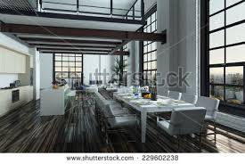 Dining Room Place Settings 3d Rendering Modern Openplan Dining Room Stock Illustration