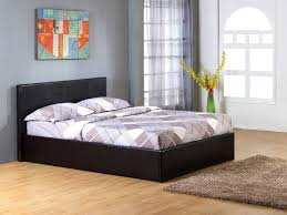 black 4 small double gas lift up ottoman faux leather storage bed