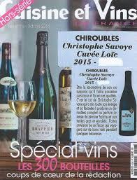 magazine cuisine et vins parution dans la revue cuisine et vins de chiroubles morgon