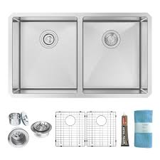 zuhne 32 inch undermount 50 50 deep double bowl 16 gauge stainless
