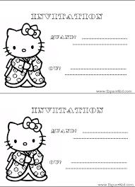 coloriage carton d u0027invitation hello kitty à imprimer dans les