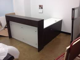 L Shaped Reception Desk Custom L Shaped Reception Desk With Acrylic Accent In Espresso And