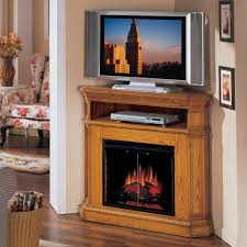 furniture rustic varnished maple wood corner tv stand furnished