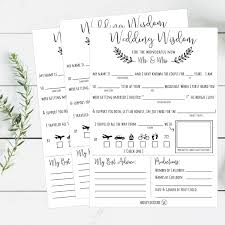 and groom advice cards mad libs wedding wisdom printable cards rustic