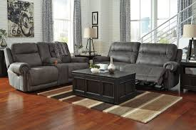 gray living room sets signature design by ashley austere gray reclining living room set