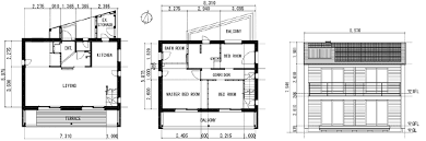 plan and elevation of the test house a the floor plan of the