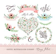 wedding flowers clipart watercolor flower clipart wedding floral clip pastel