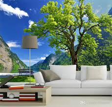 wholesale nature scenery tress and lake 3d wall mural wallpaper
