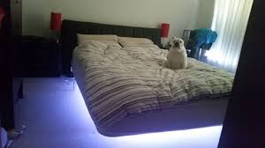 diy floating bed with led nightlight and bluetooth speakers