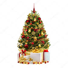 Christmas Decorations On White Background by Decorated Christmas Tree On White Background U2014 Stock Photo