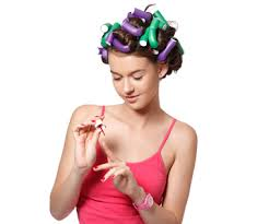 men with red fingernails and curlers in hair painting my nails completely ruins my life gurl com gurl com