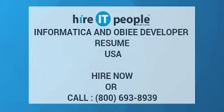 Obiee Sample Resumes by Informatica And Obiee Developer Resume Usa Hire It People We