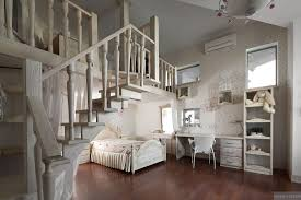 Dreamy Floral And White Bedroom With Mezzanine Homework Space And - Bedroom mezzanine