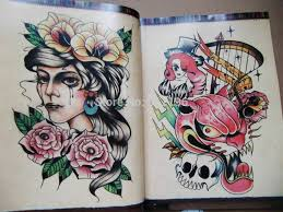 new oriental style small old tattoo flash sketch book