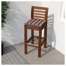 äpplarö bar stool with backrest outdoor brown stained ikea