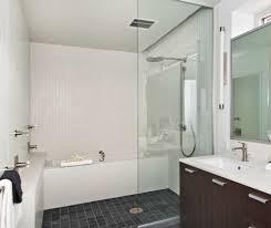mini subway tile bathroom modern with bath tub freestanding