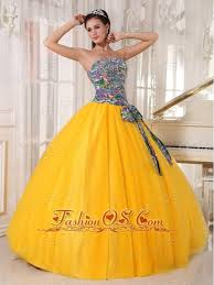 pretty golden yellow quinceanera dress strapless tulle and