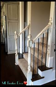 stair banister redo with new newel post and spindles tda