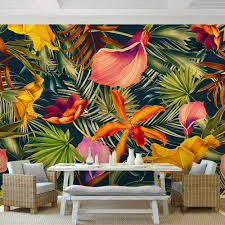 custom wall mural tropical rainforest plant flowers banana leaves custom wall mural tropical rainforest plant flowers banana leaves backdrop painted living room bedroom large mural