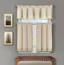 Window And Shower Curtain Sets 3 Piece Linen Kitchen Window Curtain Set Taupe Crochet Bottom