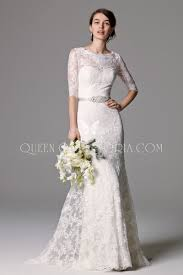 lace wedding dress with sleeves 3 4 sleeve lace classic wedding gown with illusion scoop neckline