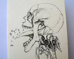 skull drawing creepy gothic happy birthday card by mireog u20ac2 40