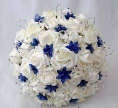 wedding flowers royal blue bridesmaids posy wedding bouquet real touch ivory lillies silk