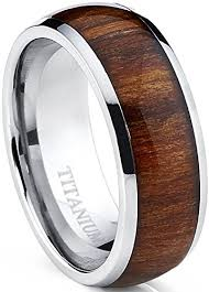 wood wedding band titanium ring wedding band engagement ring with real