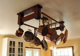witching kitchen hanging pots racks come with cream wooden hanging