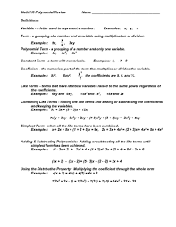 all worksheets polynomial worksheets with answer key printable