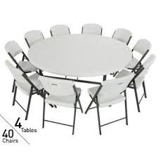 lifetime round tables for sale 80145 lifetime 4 72 inch round tables 40 chairs package in white