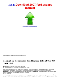 Ford Escape Manual - for free 2007 ford escape manual service manual docshare tips