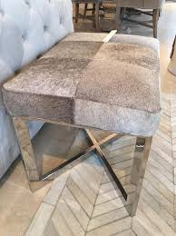 Hide Ottoman Chrome Grey Leather Hide Ottoman Stool Mulberry Moon