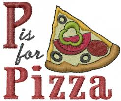 foods embroidery design p is for pizza from machine embroidery
