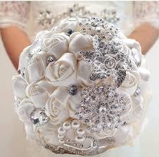 Wedding Flowers Magazine Sale Ivory Slik Flowers Wedding Bridal Bouquet With Crystal