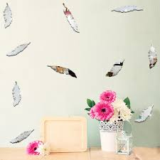 online get cheap feather wall sticker aliexpress com alibaba group funlife high quality children s room decoration mirror wall stickers environmental cartoon feather mirror