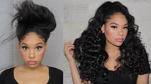 Half Up Half Down Hairstyles Black Hair Quick Curly Half Up Half Down Hairstyle W U Part Wig Youtube