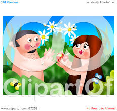 royalty free rf clipart illustration of adam and eve eating an