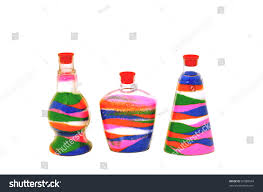 colored sand colored sand poured layers glass jar stock photo 81088594