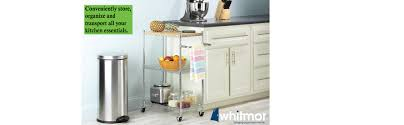 Kitchen Cart On Wheels by Amazon Com Whitmor Supreme Kitchen Cart With Wheels Wood