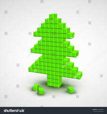 green vector christmas tree style pixel stock vector 116300380