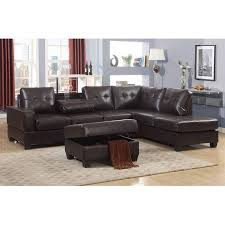 emily 3 piece faux leather reversal sectional sofa set with