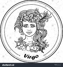 detailed virgo aztec filigree line art stock vector 463761122