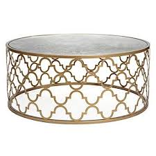 round gold glass coffee table gold quatrefoil pattern coffee table