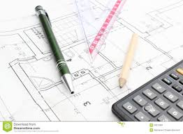 housing plan drawing accesories and calculator on housing plan stock image