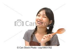 ustensile de cuisine asiatique mignon ustensile asiatique tenue fille souriante image de