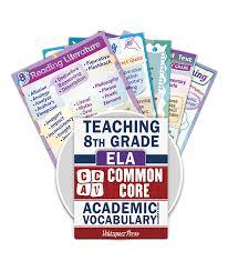 common core academic vocabulary poster set ela 8th grade