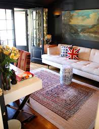Mixing Leather And Fabric Sofas by Inspired Trellis Rug In Bedroom Contemporary With Fabric Wall