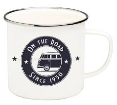 Household Gifts Vw T1 Campervan On The Road Enamel Tin Mug Campervan Gifts And