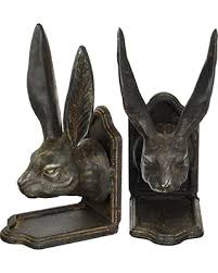 rabbit bookends deals on creative co op cast iron rabbit shaped bookends